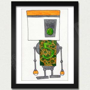 mike slobot robot 5 art print framed