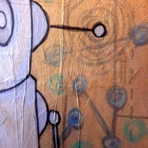 Robot Art painting with gold and glow in the dark detail