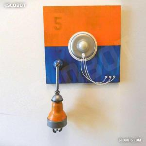 Mike Slobot Robot Painting Number 5 in Orange, Blue, and Violet Featured Image