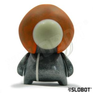 Mike Slobot G49 Robot Art Has A Large Glow in the Dark Eye space age orange silver