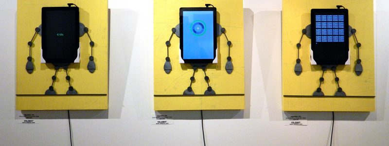 "Mike Slobot ""Algorithm Series"" Mixed Media on board with 10 inch tablets"