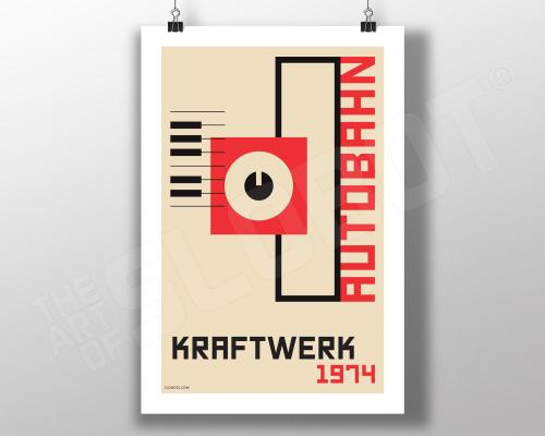 Mike Slobot Bauhaus styled art inspired by Kraftwerk's 1974 album Autobahn