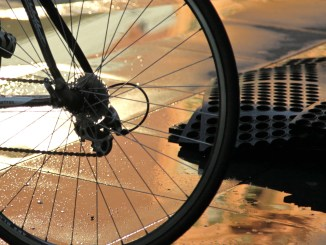rear wheel bike at dawn