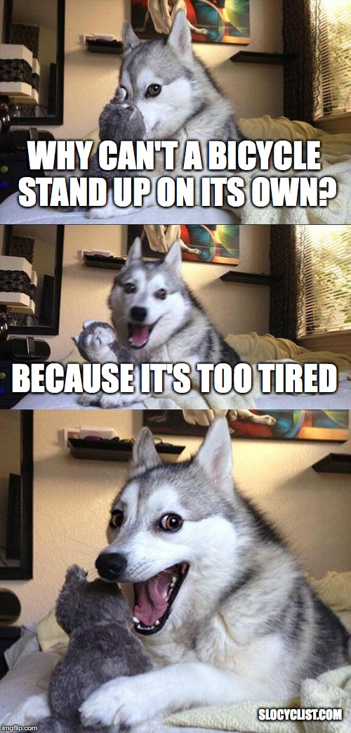 Funny Bicycle Meme funny meme about bicycles pad pun dog cycling joke