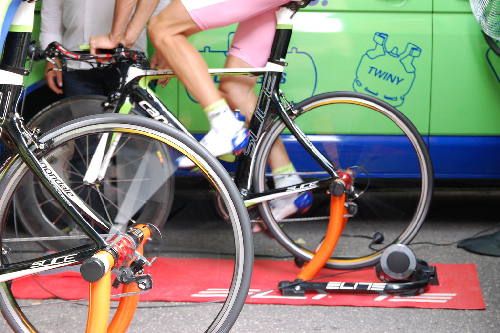 ivan basso on elite bike trainer