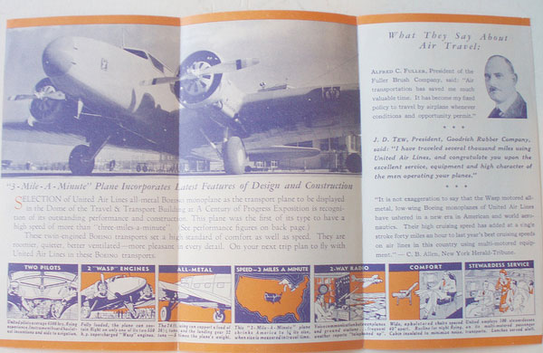 UNITED AIRLINES 1934 TRAVEL BROCHURE REVERSE