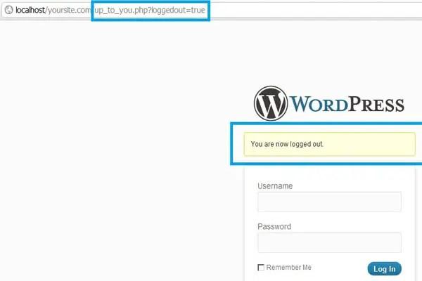 WordPress logged out