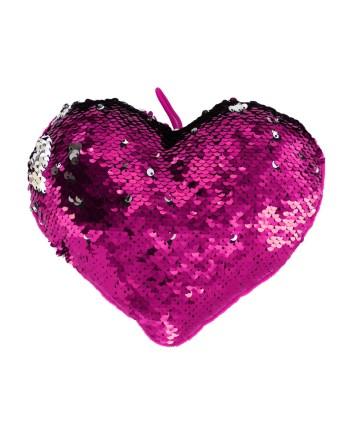 Plišani Jastuk Srce/Sequin 15cm. Plišani jastuk s jedne strane u plišu a s druge u dvobojnim šljokicama.
