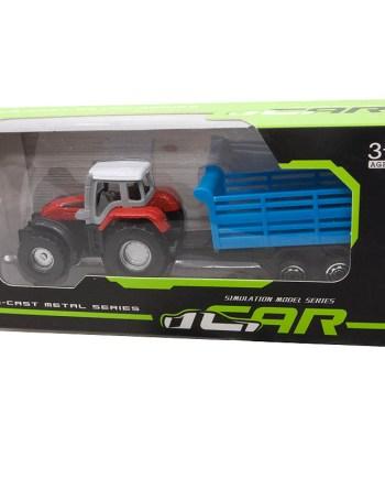 Traktor sa prikolicomsa metalnim dijelovima u 3 različita modela za svu djecu koja vole traktore. Model je dugačak 14cm.