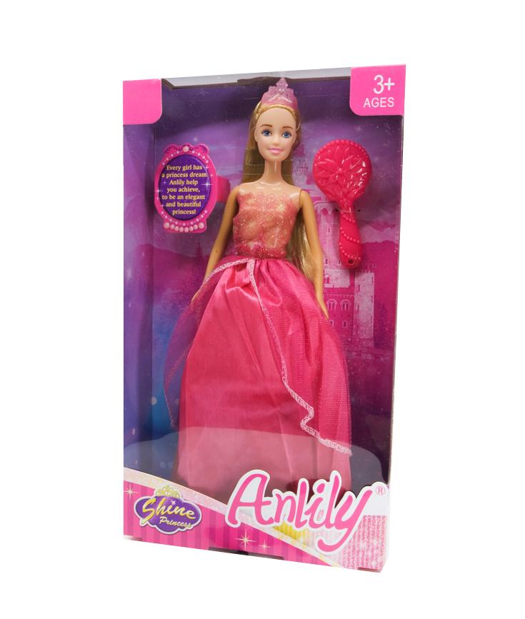 Lutka princeza Shine. Klasična lutka duge kose u svečanoj haljini za princeze sa krunom na glavi i četkom za češljanje kose.