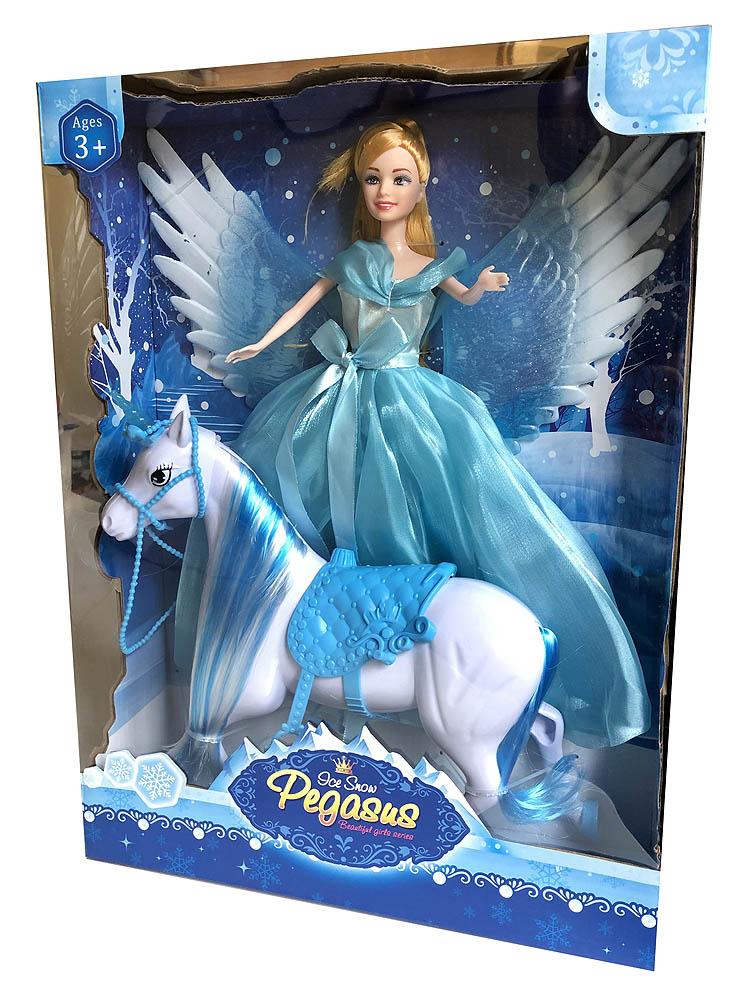 Lutka Princeza sa krilatim konjem Pegasus. Princeza sa prekrasnom haljinom dolazi u 2 varijante - plavoj i rozoj.