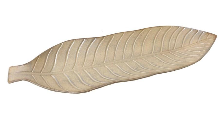 Tanjur ukrasni, drveni list, 56cm. Ukrasni drveni tanjur u obliku lista.