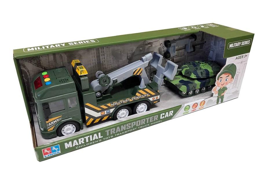 Kamion vojni sa dizalicom i tenkom, na baterije. U pakiranju se nalazi vojni kamion sa dizalicom i tenkom.