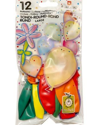Baloni raznobojni, okrugli baloni veličine 32 centimetara, 12 komada u pakiranju. Proizvedenih od prirodnog biorazgradivog lateksa.
