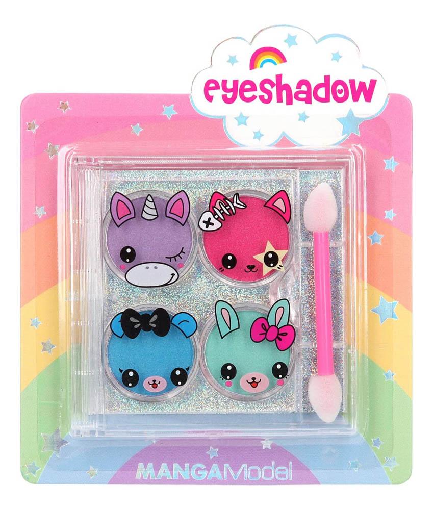 Dječja šminka, Sjenilo za oči Top Model 4x1,2g. Ova prekrasna i praktična, dječja šminka, dolazi u 4 boje sjenila za oči u kombinaciji sa slatkim dizajnom životinjica