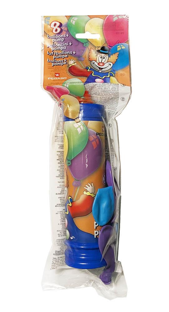 Pumpa za Balone sa 8 balona veličine d26cm. Baloni su proizvedeni od prirodnog biorazgradivog lateksa.