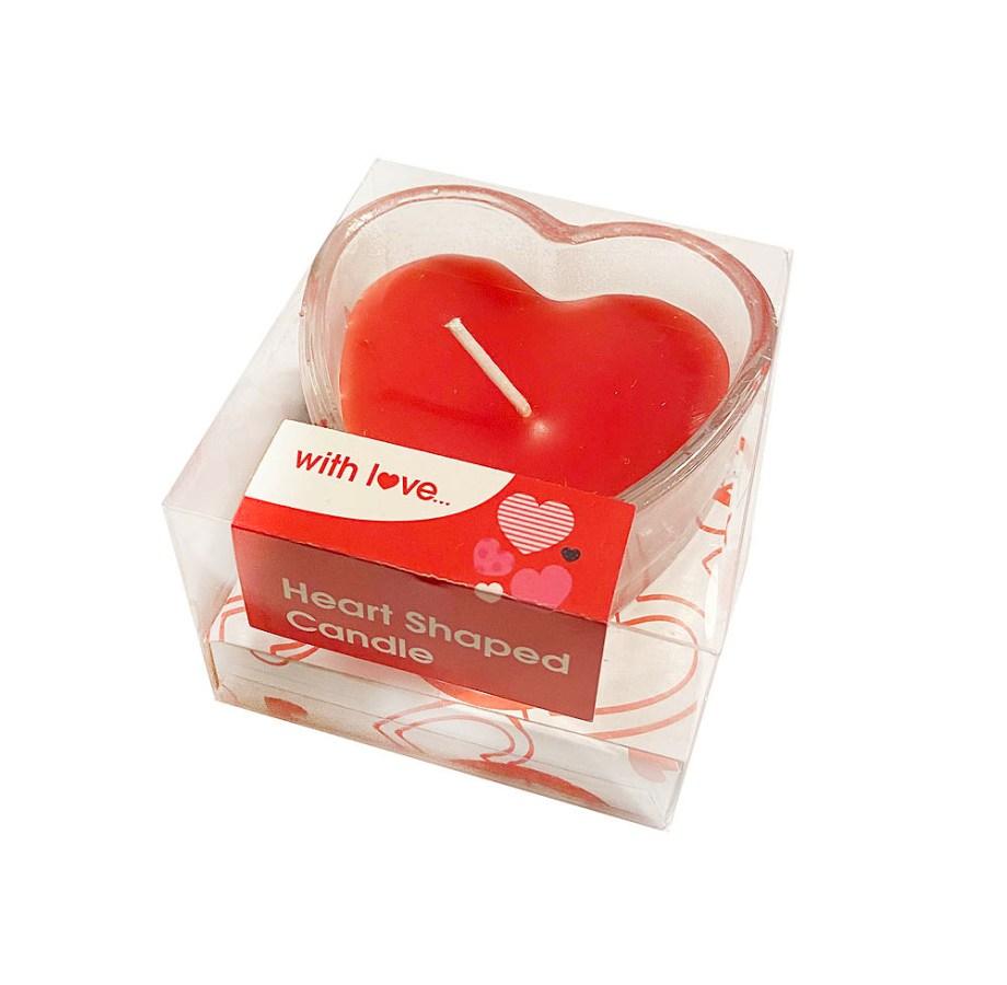 Stakleni svjećnjak sa svijećom u obliku srca, With Love. Savršen poklon za voljenu osobu na Valentinovo.