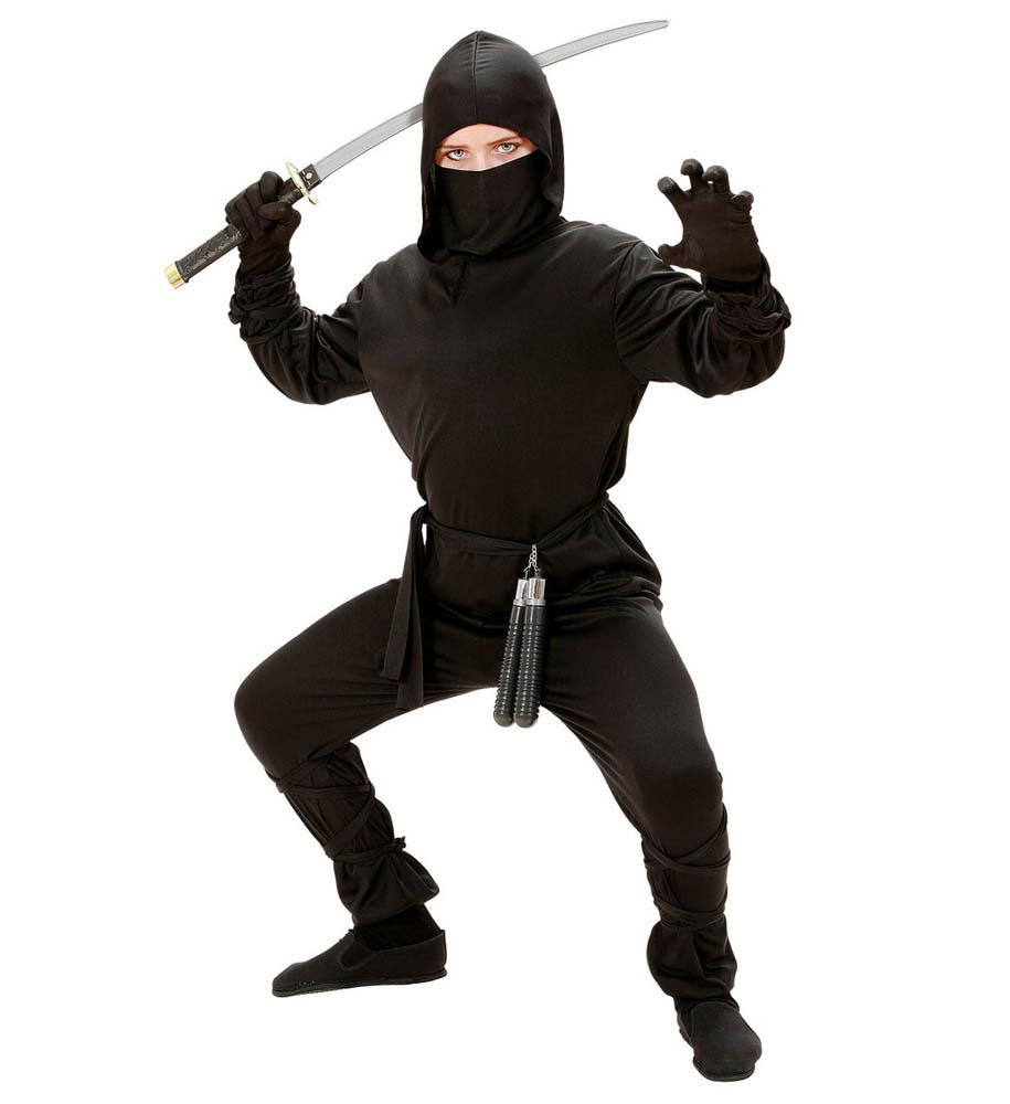 Kostim Ninja, dječji kostim za karneval. Kostim je namjenjen djeci između 5-7 godina. Savršen je za lude partije, proslave Halloweena ili karnevalske povorke.