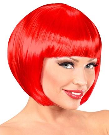 Perika za odrasle, kratka, crvena Chanel. Savršena je za maskiranje, lude partije, proslave Halloweena ili karnevalske povorke.