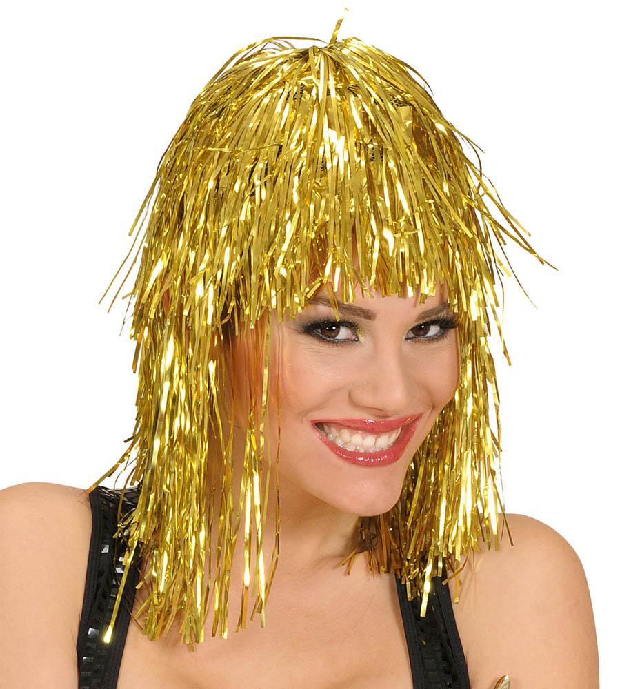 Perika Disco za odrasle, zlatne boje. Savršena je za maskiranje, lude partije, proslave Halloweena ili karnevalske povorke.
