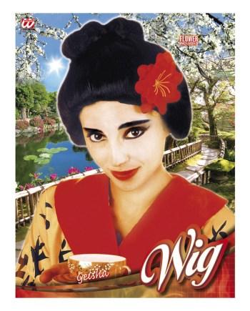Perika za odrasle Geisha + cvijet, karnevalska perika za odrasle. Savršena je za maskiranje, lude partije, proslave Halloweena ili karnevalske povorke.