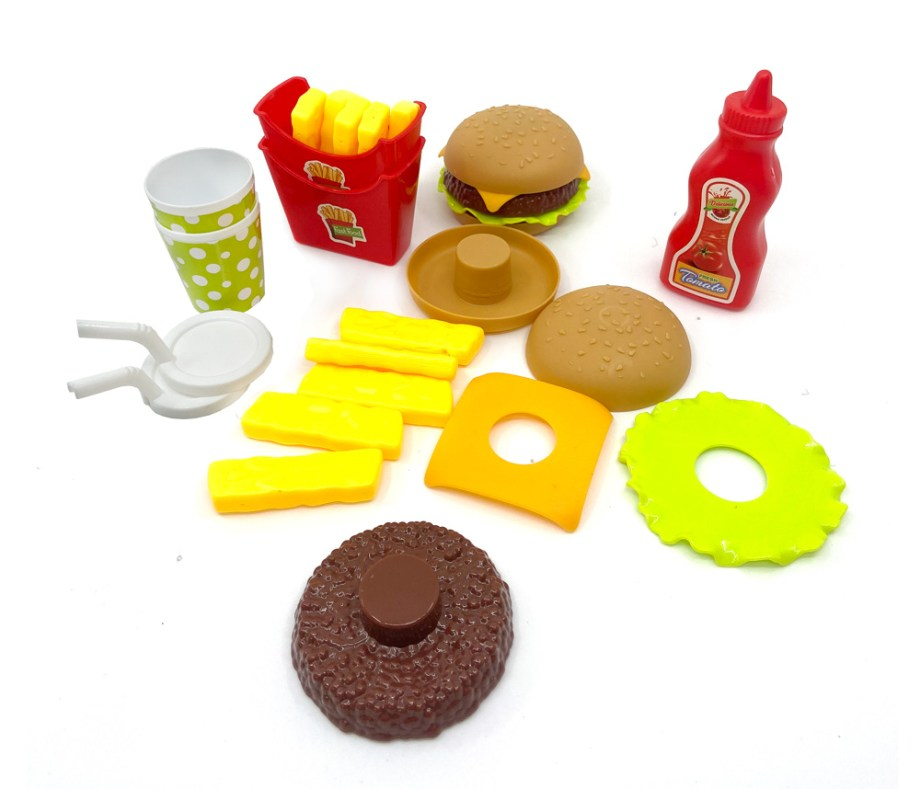 Fast food kuhinjski set, Set brze hrane sa dodacima. Prekrasan kuhinjski set brze hrane. Ovaj Fast Food set sadrži sve za igru kuhara ili gosta u restoranu brze hrane.