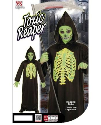 Kostim za karneval Toxic Reaper namijenjen je djeci od 11 do 13 godina. Savršen je za lude partije, proslave Halloweena ili karnevalske povorke.