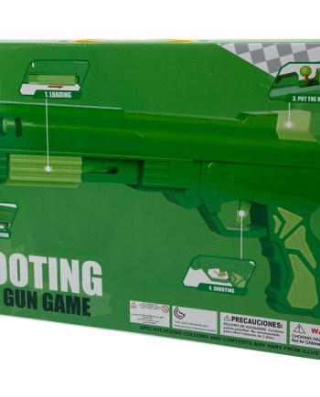 Pištolj sa mekanim mecima i kuglicama, zelene boje. U pakiranju se nalazi plastični pištolj dužine 33 centimetra, 6 metaka sa čašicama na vrhu i 9 kuglica za ispucavanje.
