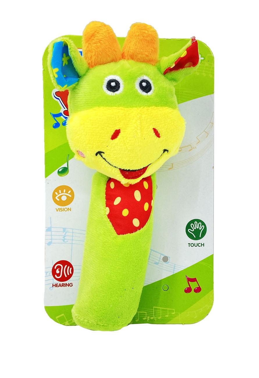 Zvučna Igračka za Bebe, Mekana i šarena. Plišana igračka, zvučna Igračka za Bebe savršena je za vašu bebu, koja će igrajući se razvijati osjetilo sluha, dodira i vida.