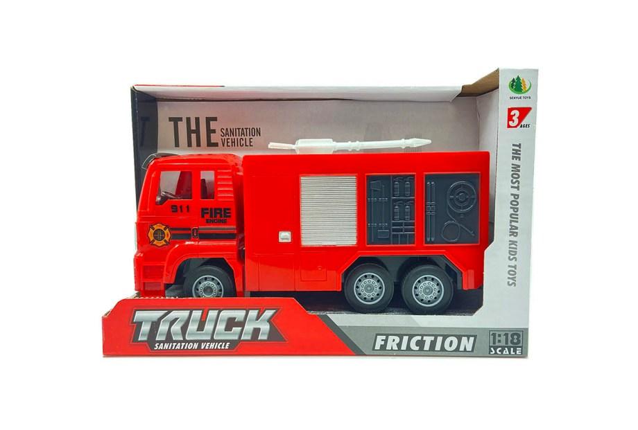 Vatrogasni kamion na frikciju, Fire truck vatrogasci. Realistični vatrogasni kamioni u 2 varijante, izrađeni od kvalitetne plastike te dolaze sa gumenim kotačima.