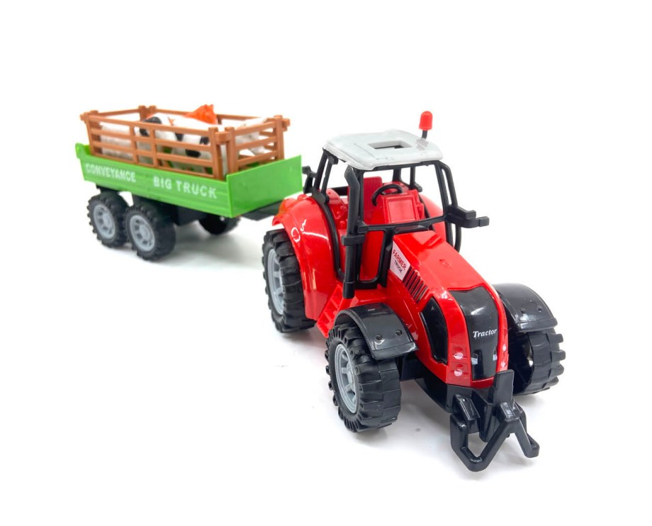 Traktor na frikciju sa svjetlom, zvukom, prikolicom i životinjama. Traktor sa prikolicom i tri životinje. Igračka radi na baterije, kada se traktoru pritisne krov proizvodi zvuk i svjetli.