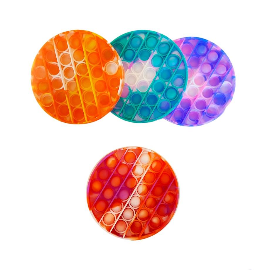 """POP IT silikonska antistres igračka, """"Push Bubble"""". POP IT fidget, nova je hit igračka. Ova silikonska igračka u 4 šarene boje naziva se još i """"push bubble""""."""
