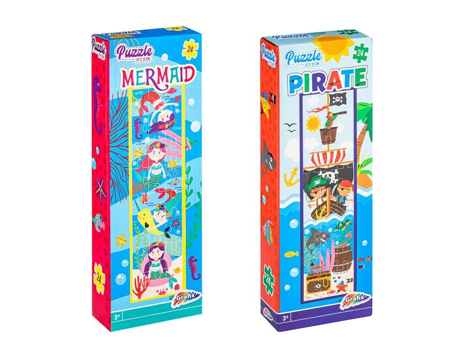 PUZZLE Gusari ili Sirene 24 komada, veličina 47x12 centimetara. Vesele, simpatične, puzzle sa motivima gusara ili sirena, napravljene od kartona.