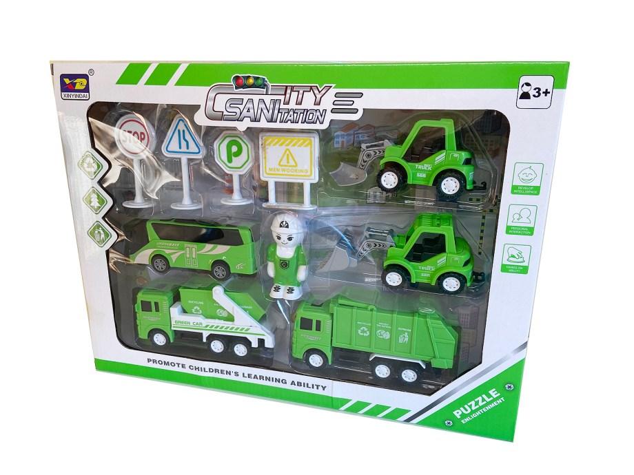 Gradska- vozila sa dodacima, 3 modela, u setu sa puno dodataka. Ovaj set gradskih radnih vozila idealan je za igru u kući ali i na otvorenom ili pijesku.