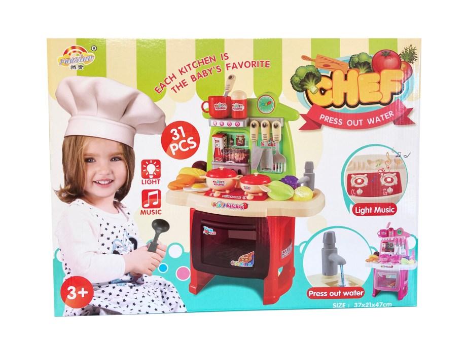 Velika dječja kuhinja sa svjetlom i zvukom i pregršt dodataka, na baterije. Savršena je da se dijete zaigra glumeći kuhara/kuharicu.