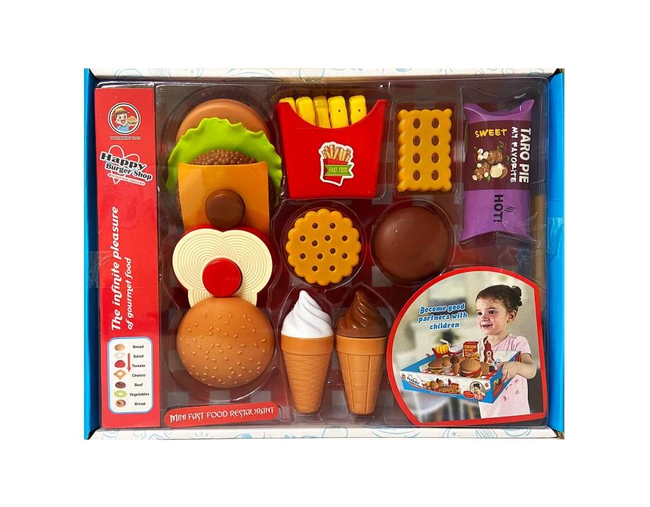 Mini fast food komplet, Set brze hrane sa dodacima. Prekrasan kuhinjski set brze hrane sadrži sve za igru kuhara ili gosta u restoranu.