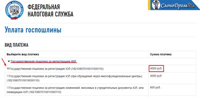 Формирование госпошлины на открытие ООО
