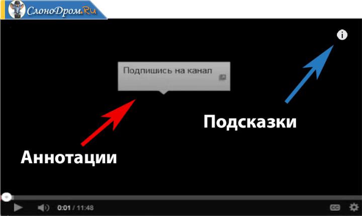 Как создать аннотации и подсказки на Ютубе
