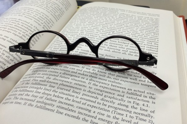 Glasses and book
