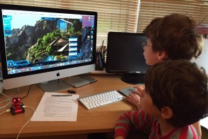 Isaac and Toby playing on thunderbirds.com