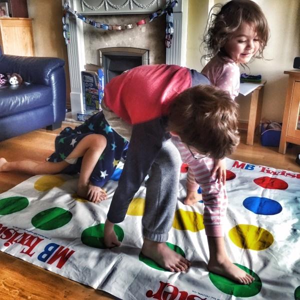 Kids playing Twister