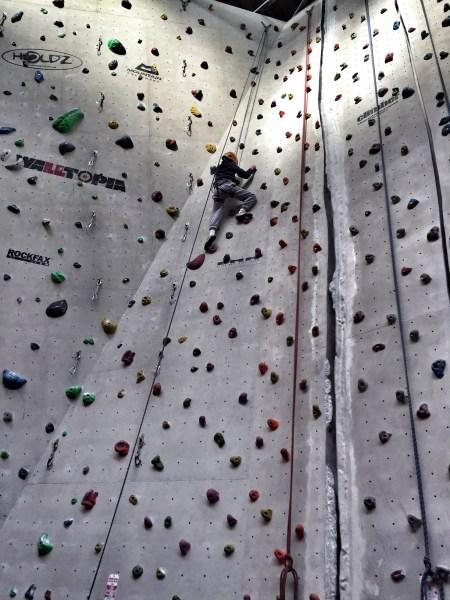 Isaac climbing wall