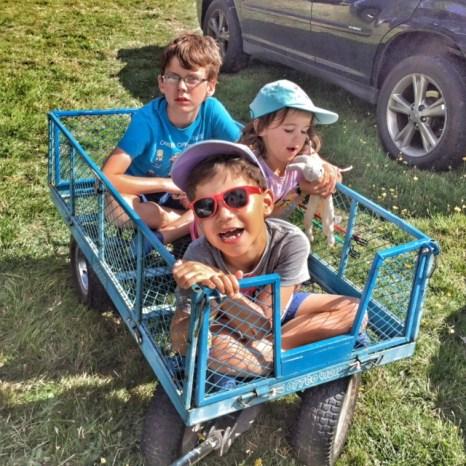 Camp Bestival kids in trolley