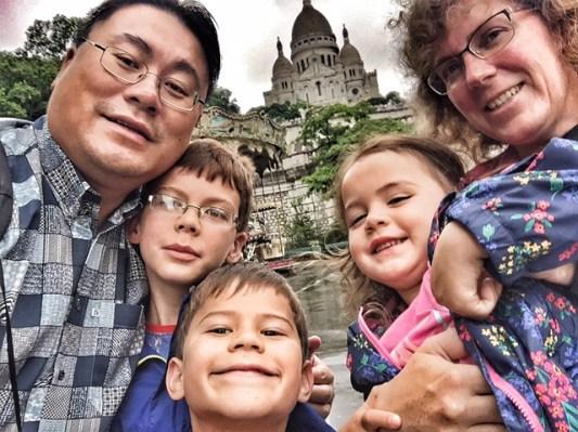 Paris family selfie at Sacre Coeur