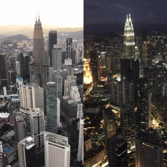 Malaysia 2018 Petronas Twin Towers day and night