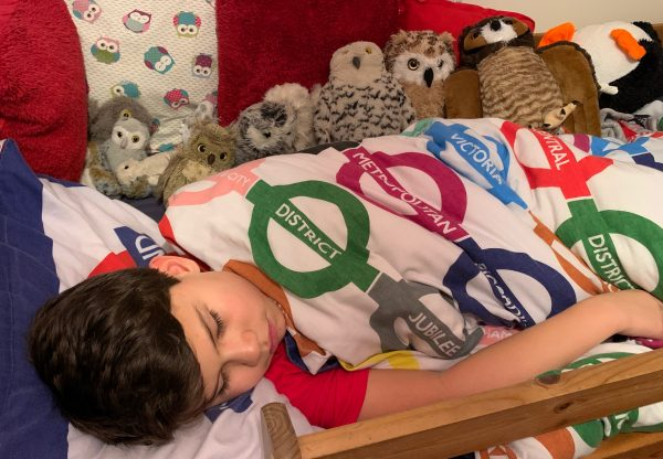 Toby's 10th birthday in bed with the owls
