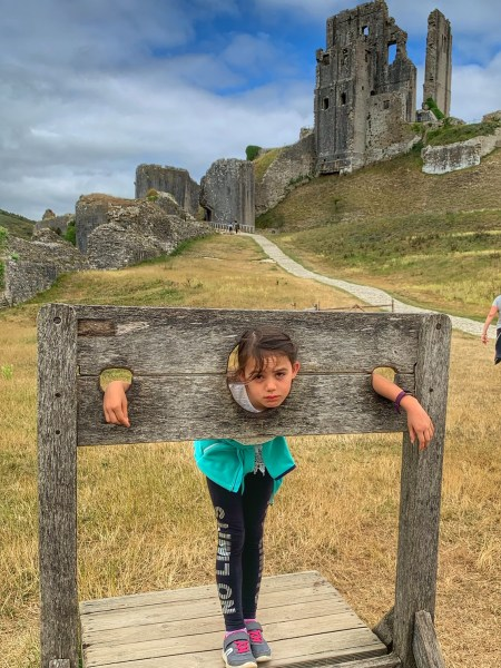 A girl in the stocks