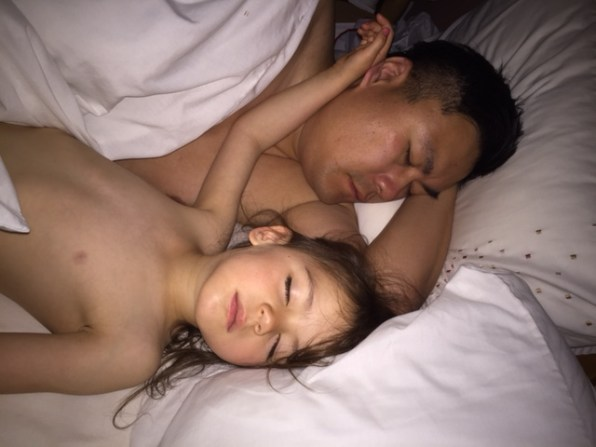 Daddy and Kara sleeping