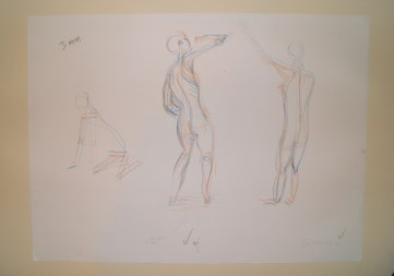 Two-coloured figure drawings