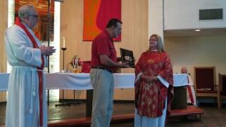 2015-07-26 1114 DML Church 100th Anniversary, Mike Sellon and Bishop Wilma Kucharek, plaque